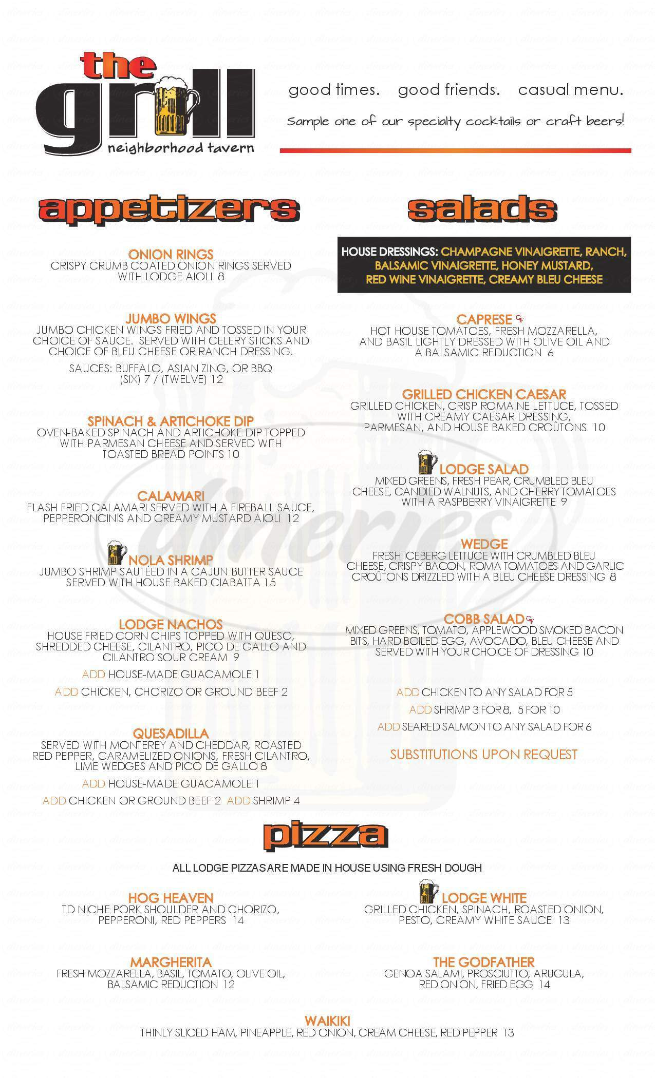menu for The Lodge at Wilderness Ridge