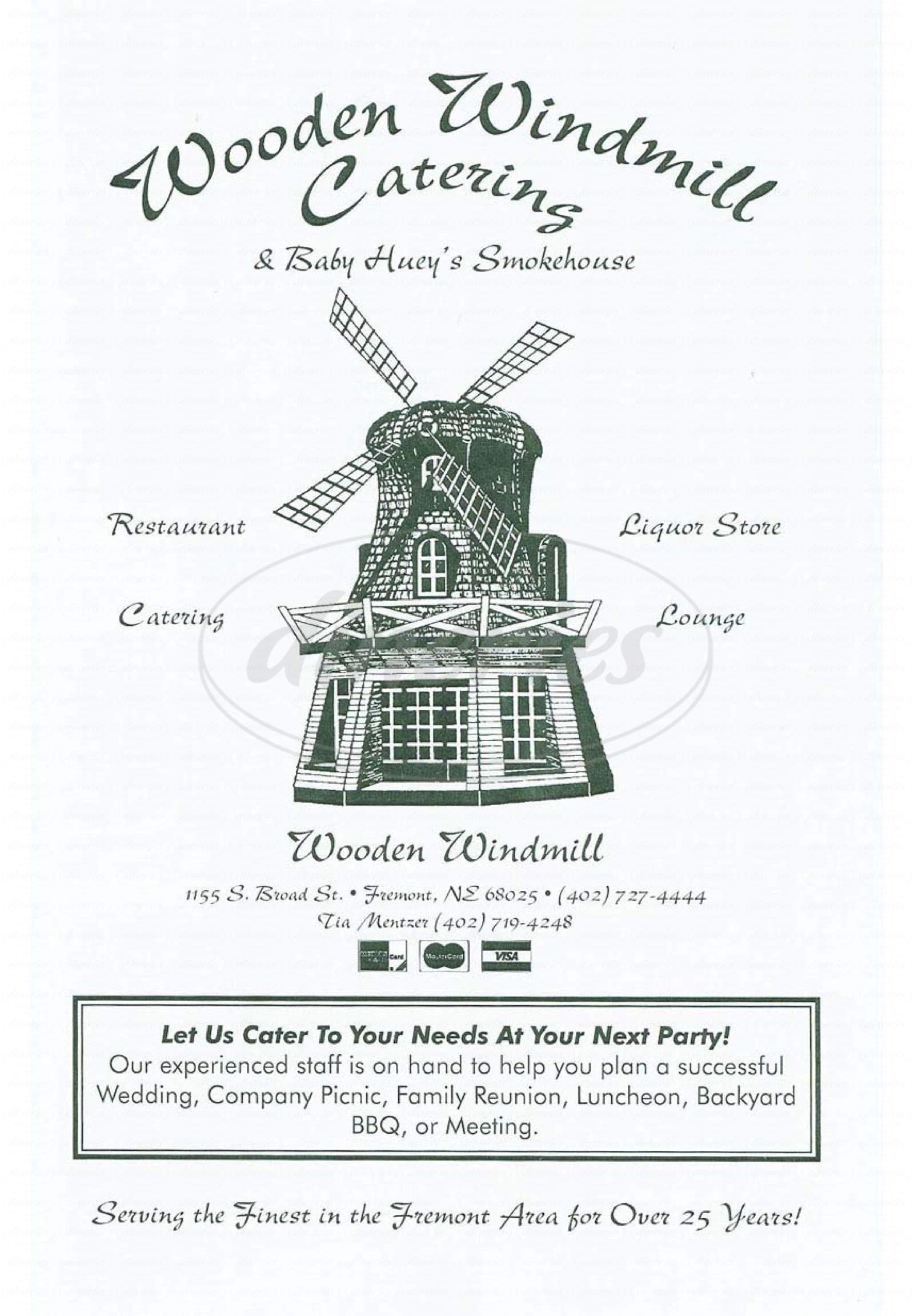 menu for Wooden Windmill