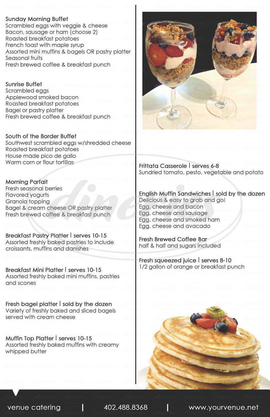 menu for Venue Restaurant & Lounge