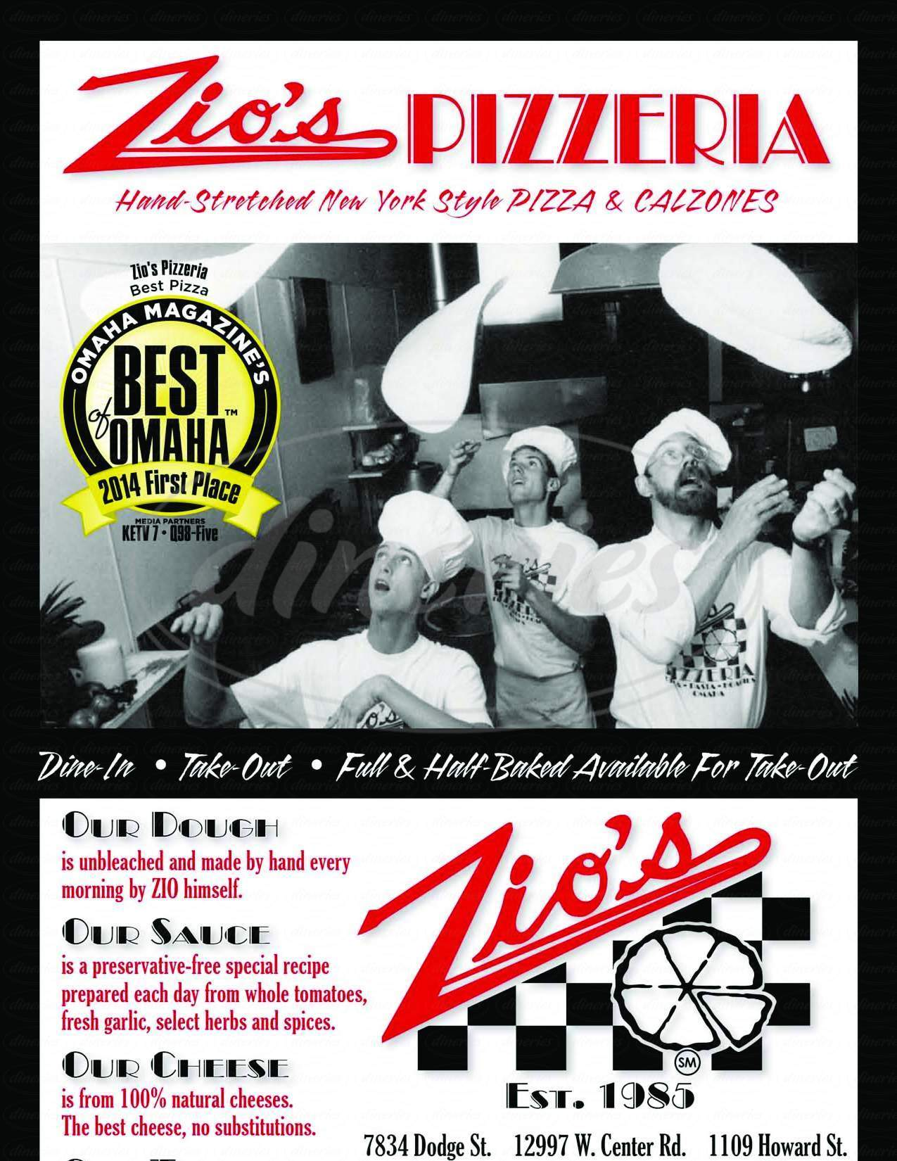 menu for Zio's Pizzaria Inc