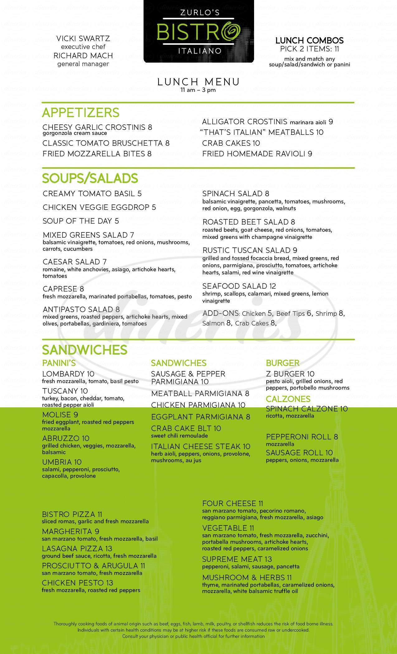 menu for Zurlo's Italian Bistro