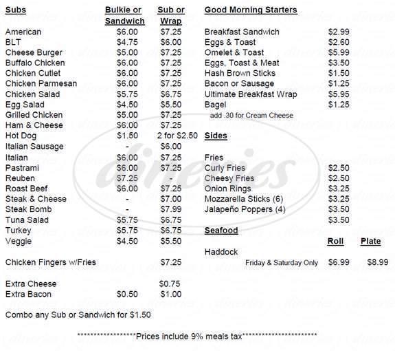 menu for Amilyne's Corner Market