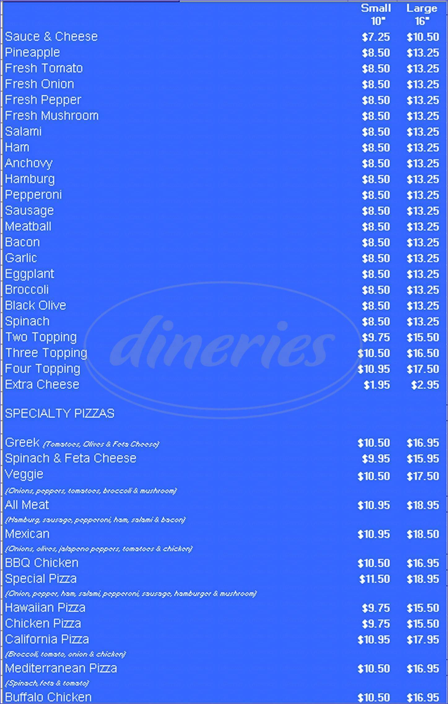 menu for Billy's Famous Pizza