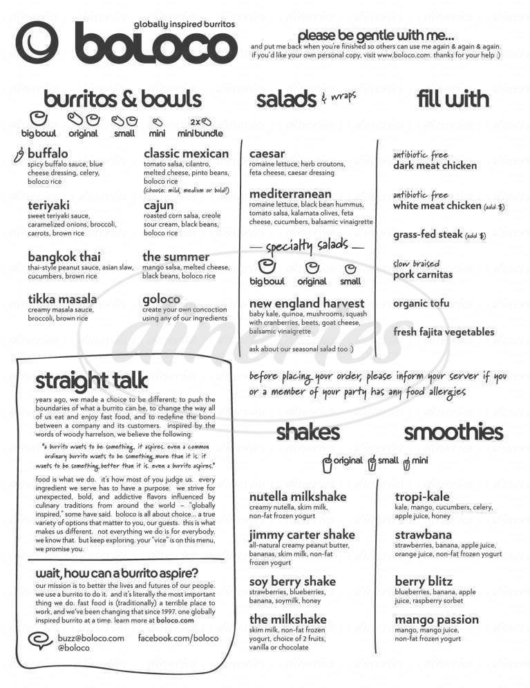 menu for Boloco - Dartmouth College