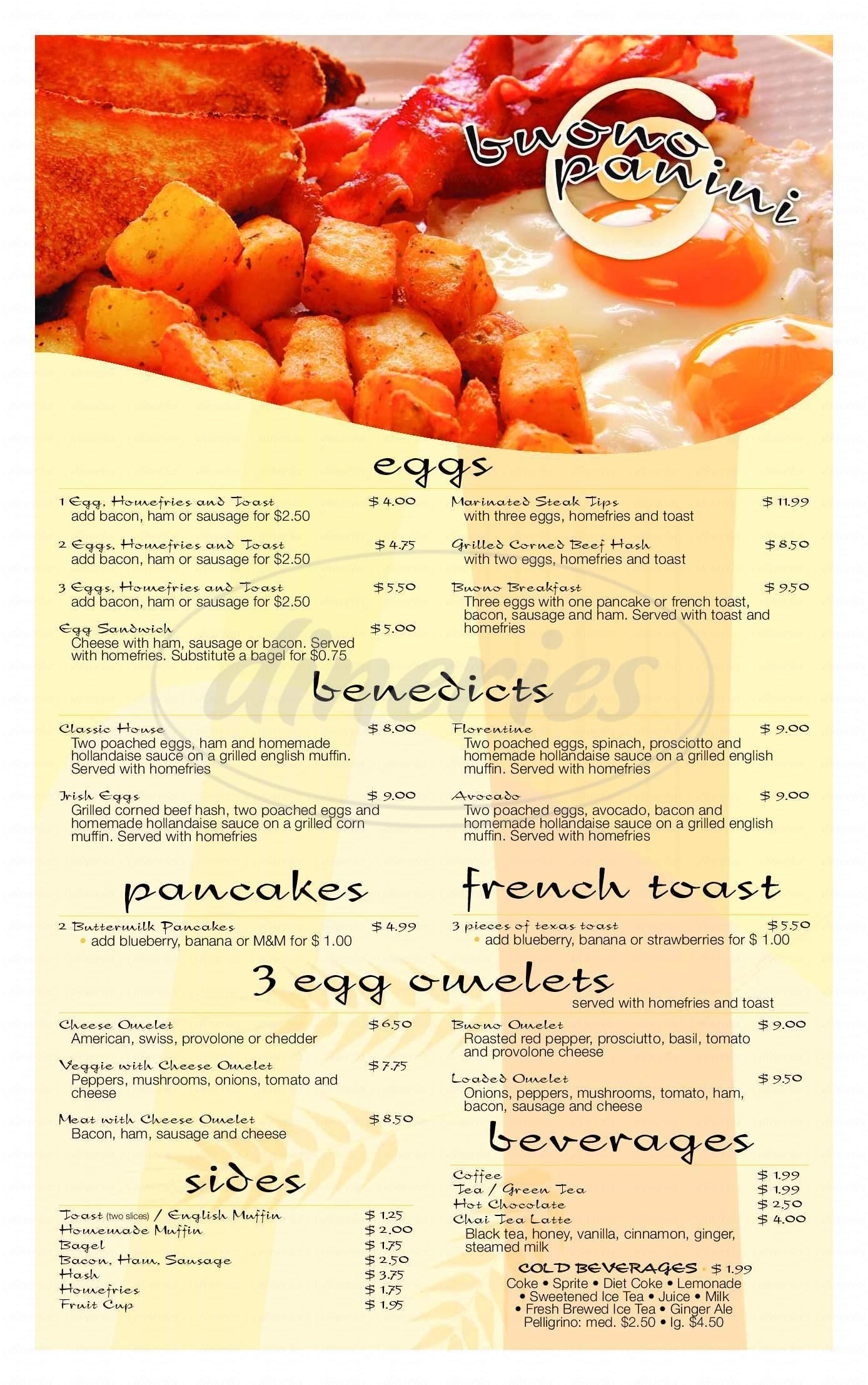 menu for Buono Panini