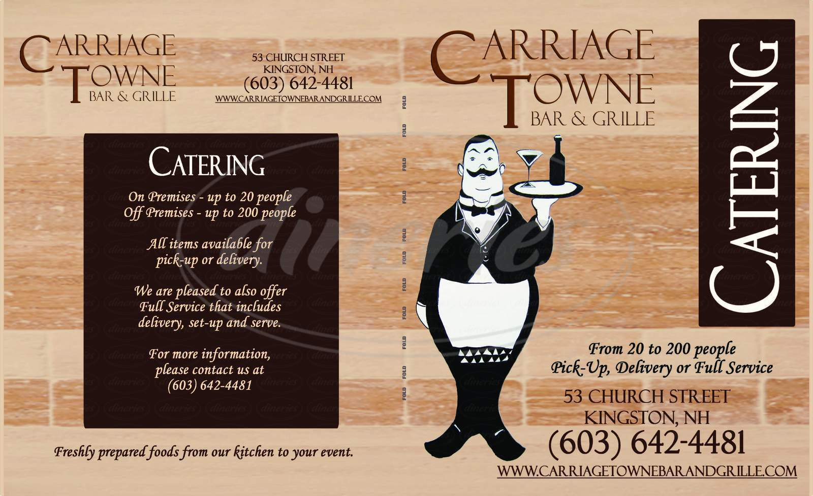 menu for Carriage Towne Bar and Grill