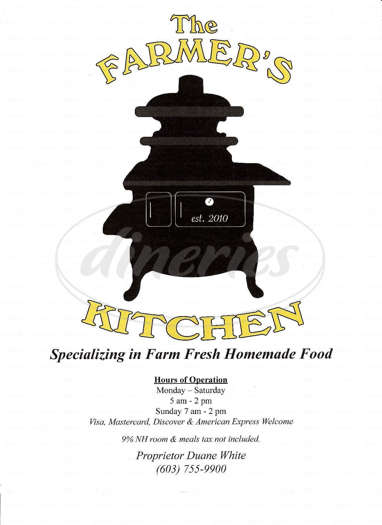 menu for Farmer's Kitchen