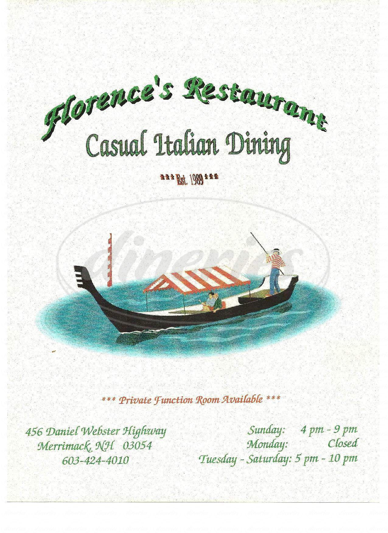 menu for Florence's Restaurant