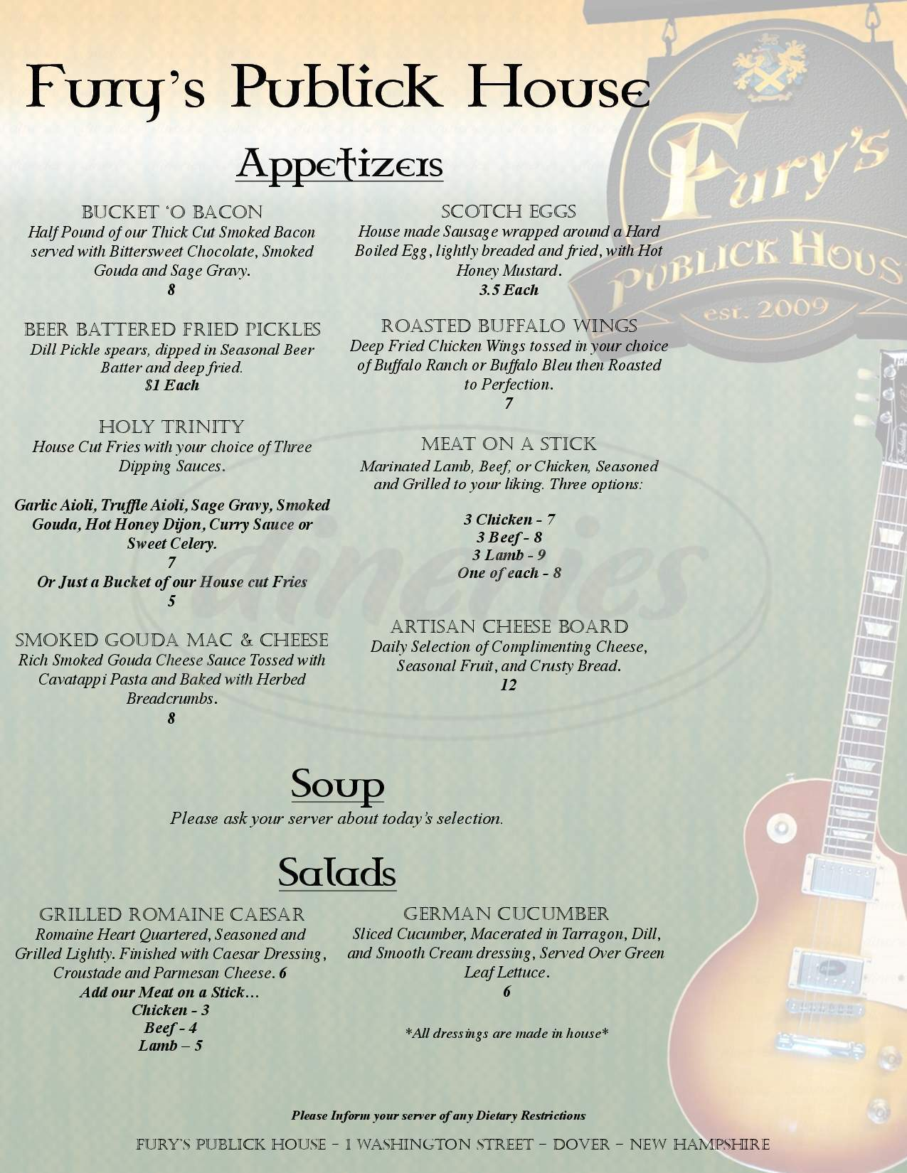 menu for Fury's Public House