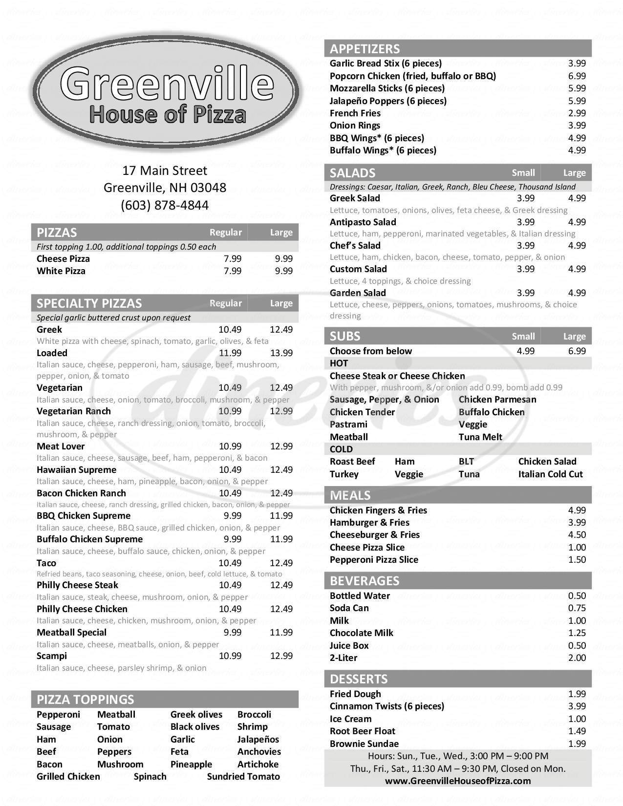 menu for Greenville House of Pizza
