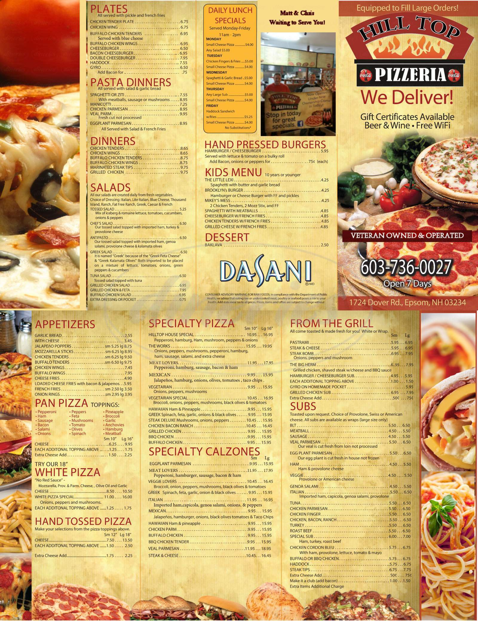 menu for Hill Top Pizzeria