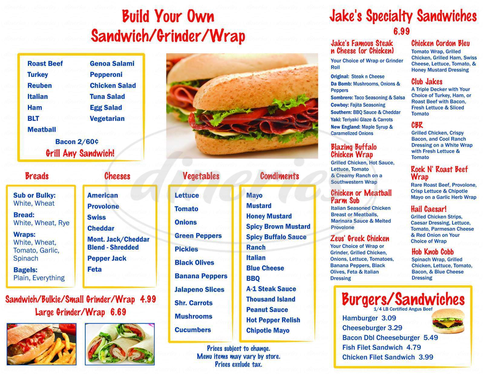 menu for Jake's Deli