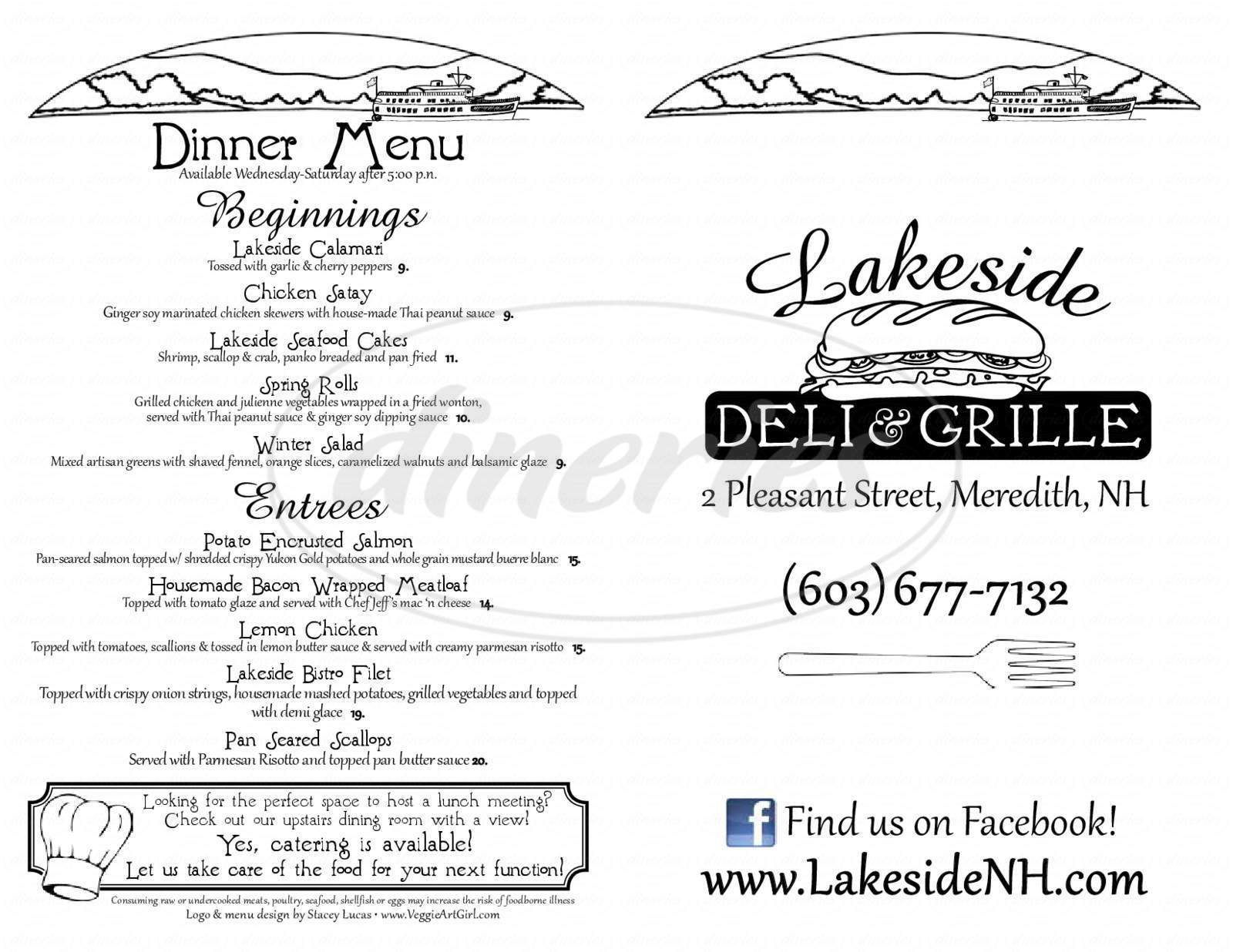 menu for Lakeside Deli and Grille