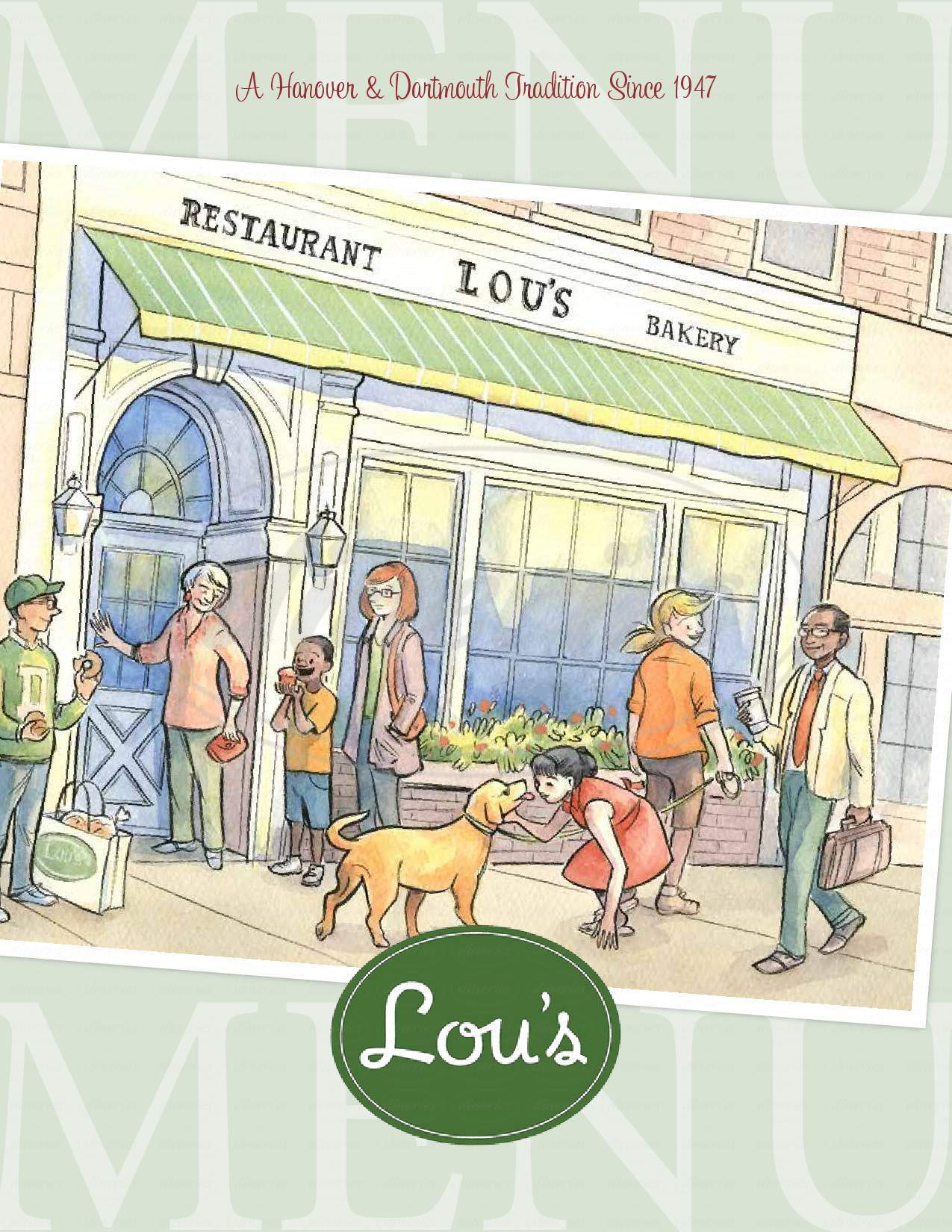 menu for Lou's Restaurant