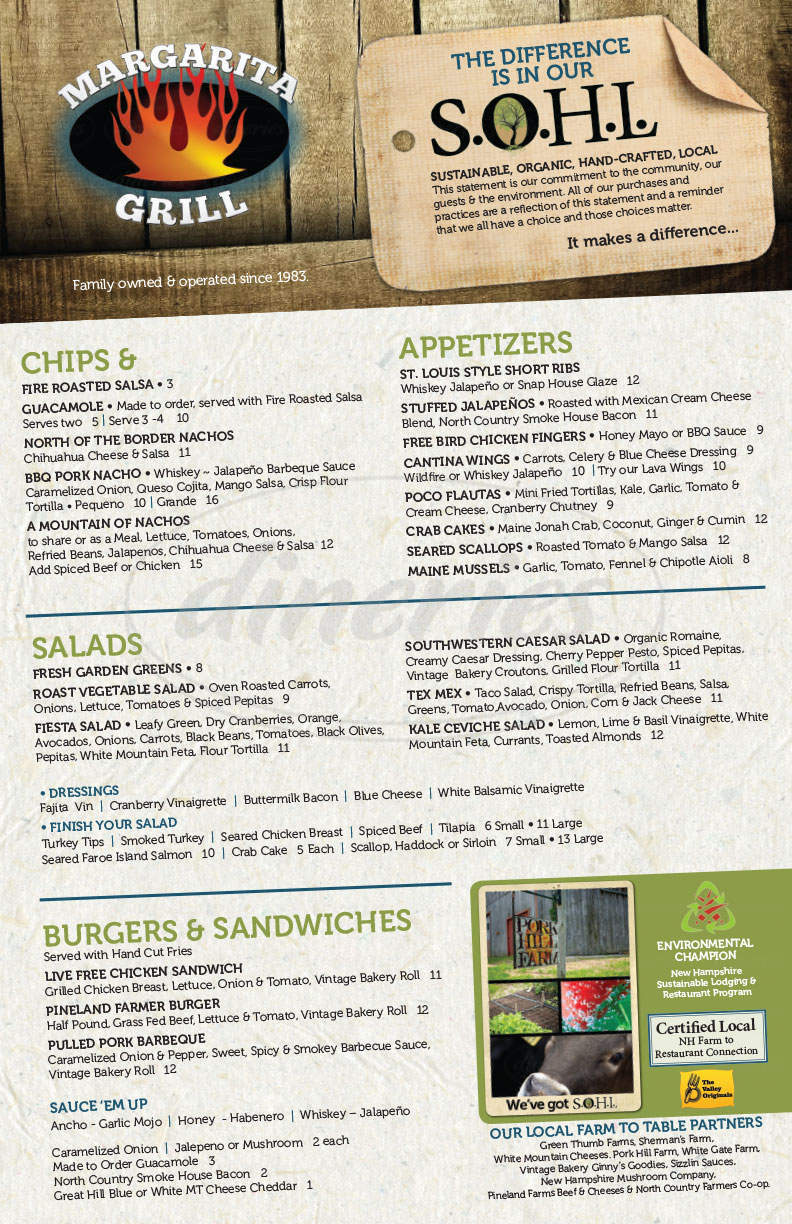 menu for Margarita Grill