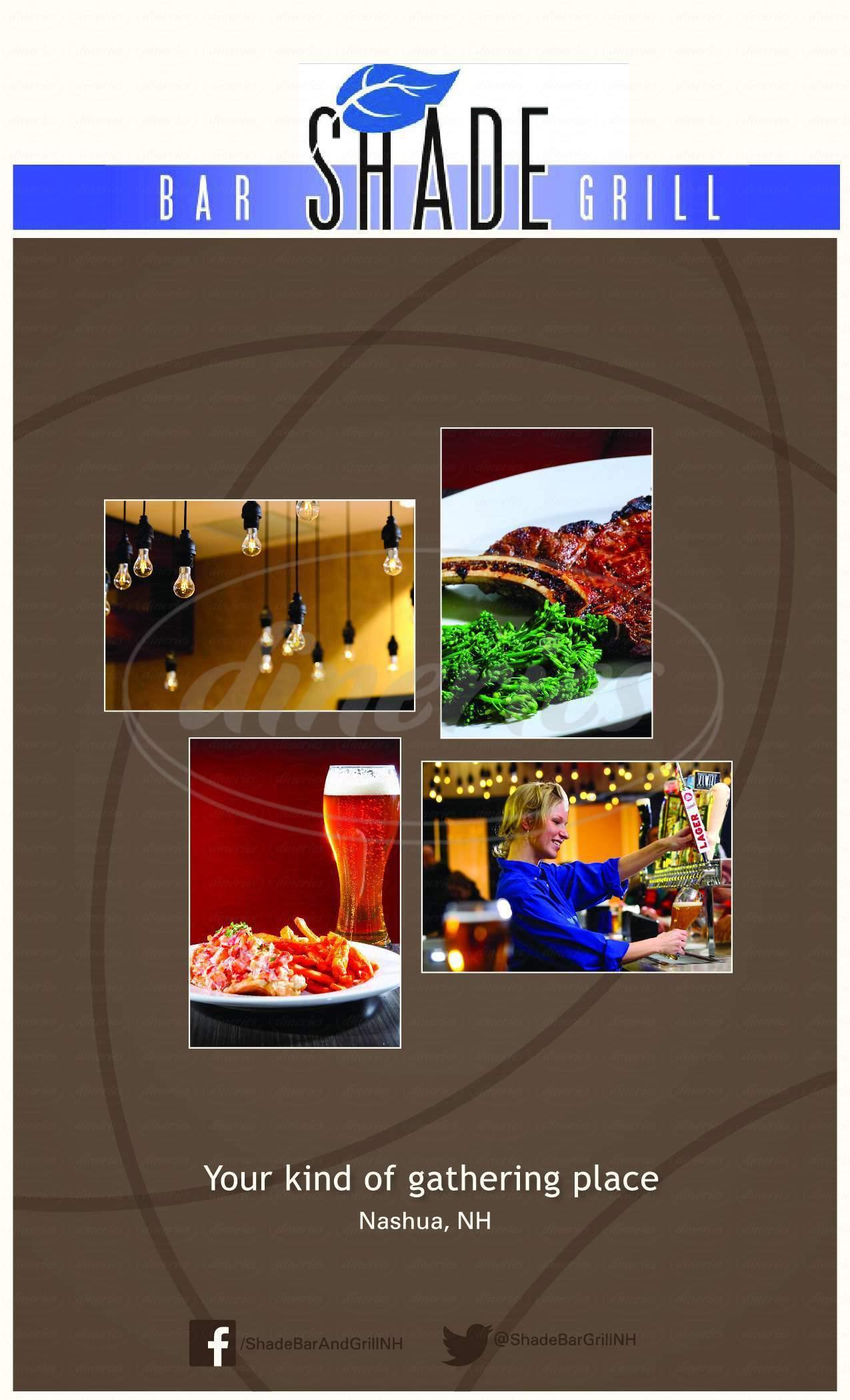 menu for Shade Bar & Grill