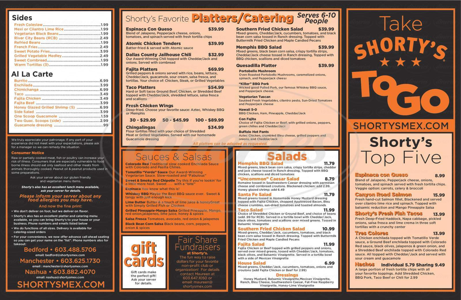 menu for Shorty's Mexican Roadhouse