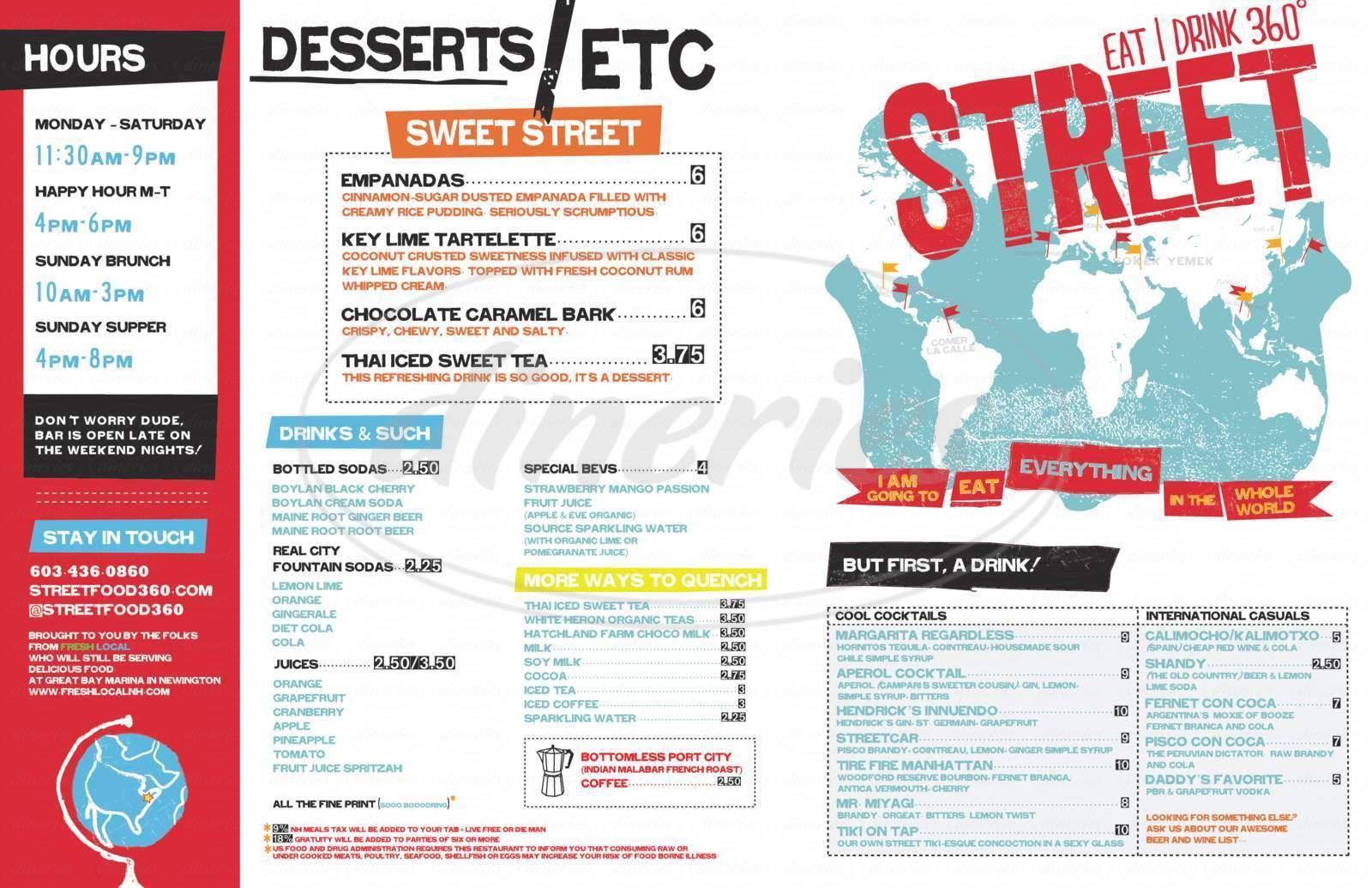 menu for Street