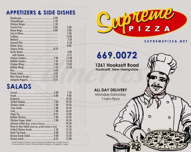 menu for Supreme House of Pizza