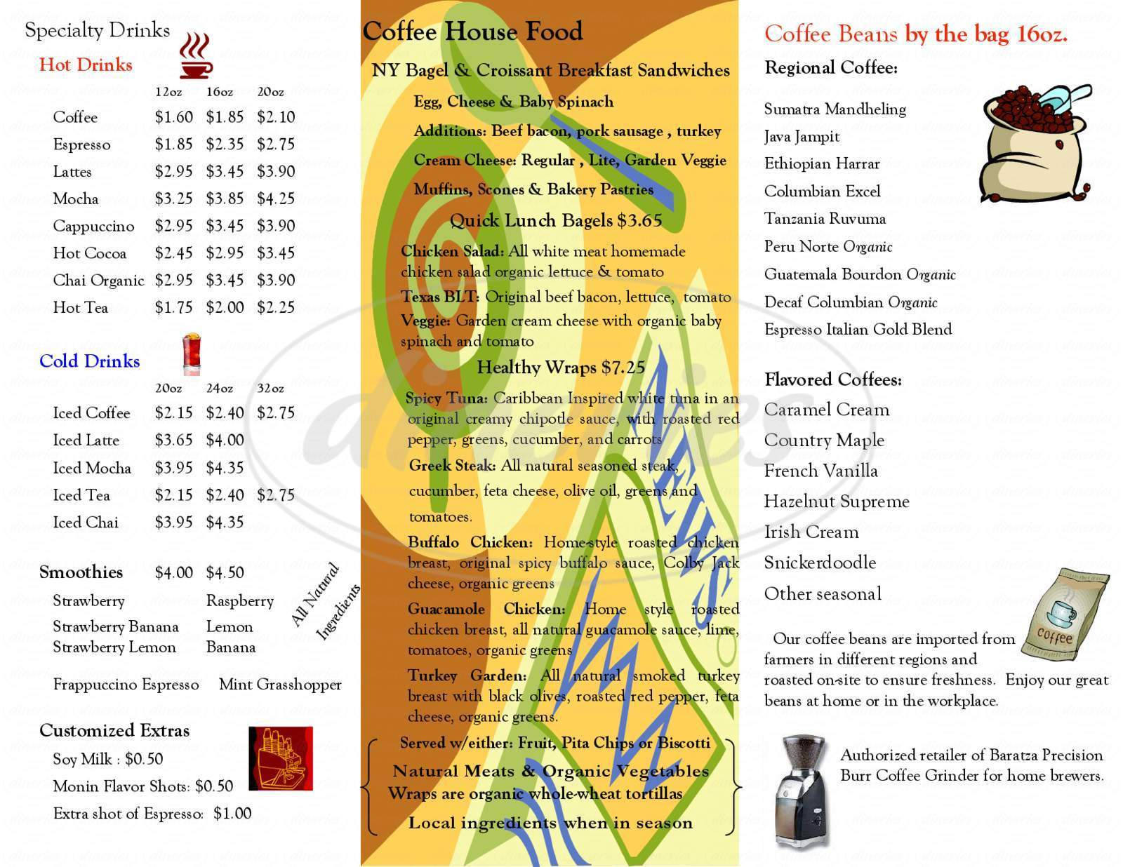 menu for The Coffee Factory