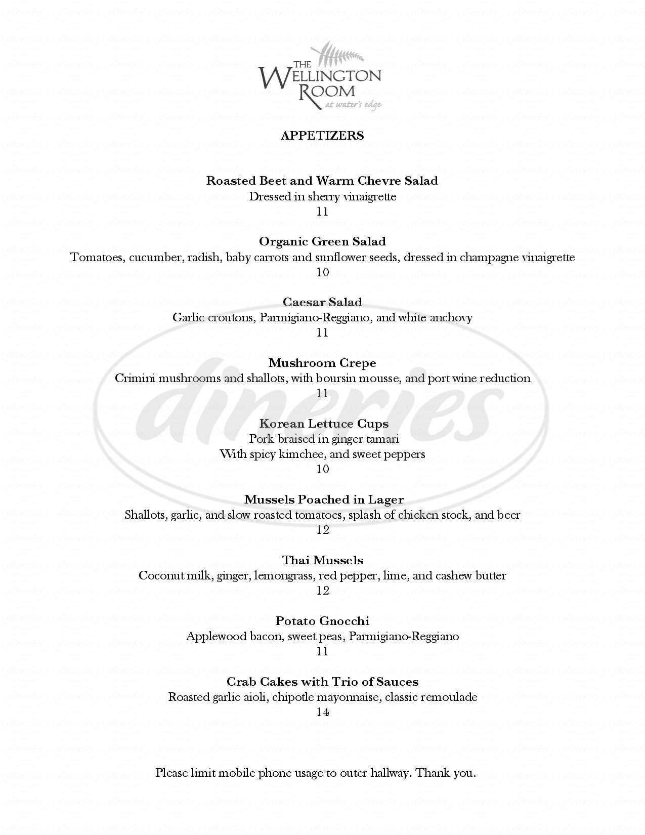 menu for The Wellington Room