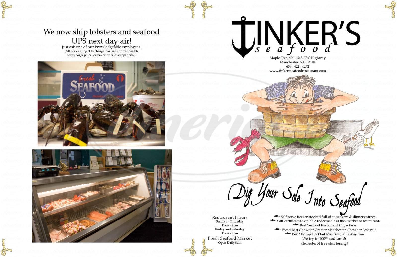 menu for Tinker's Seafood