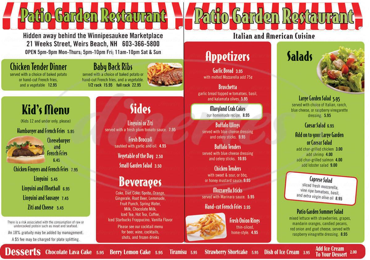 menu for Patio Garden Restaurant
