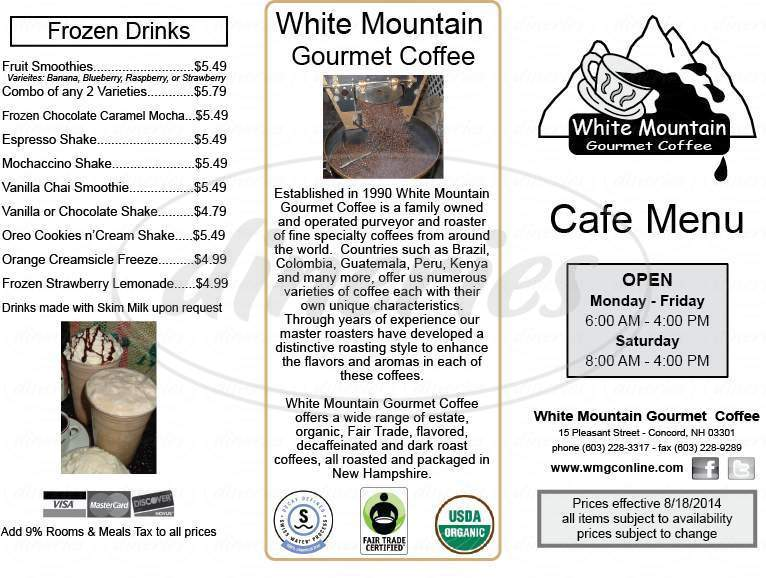 menu for White Mountain Gourmet Coffee
