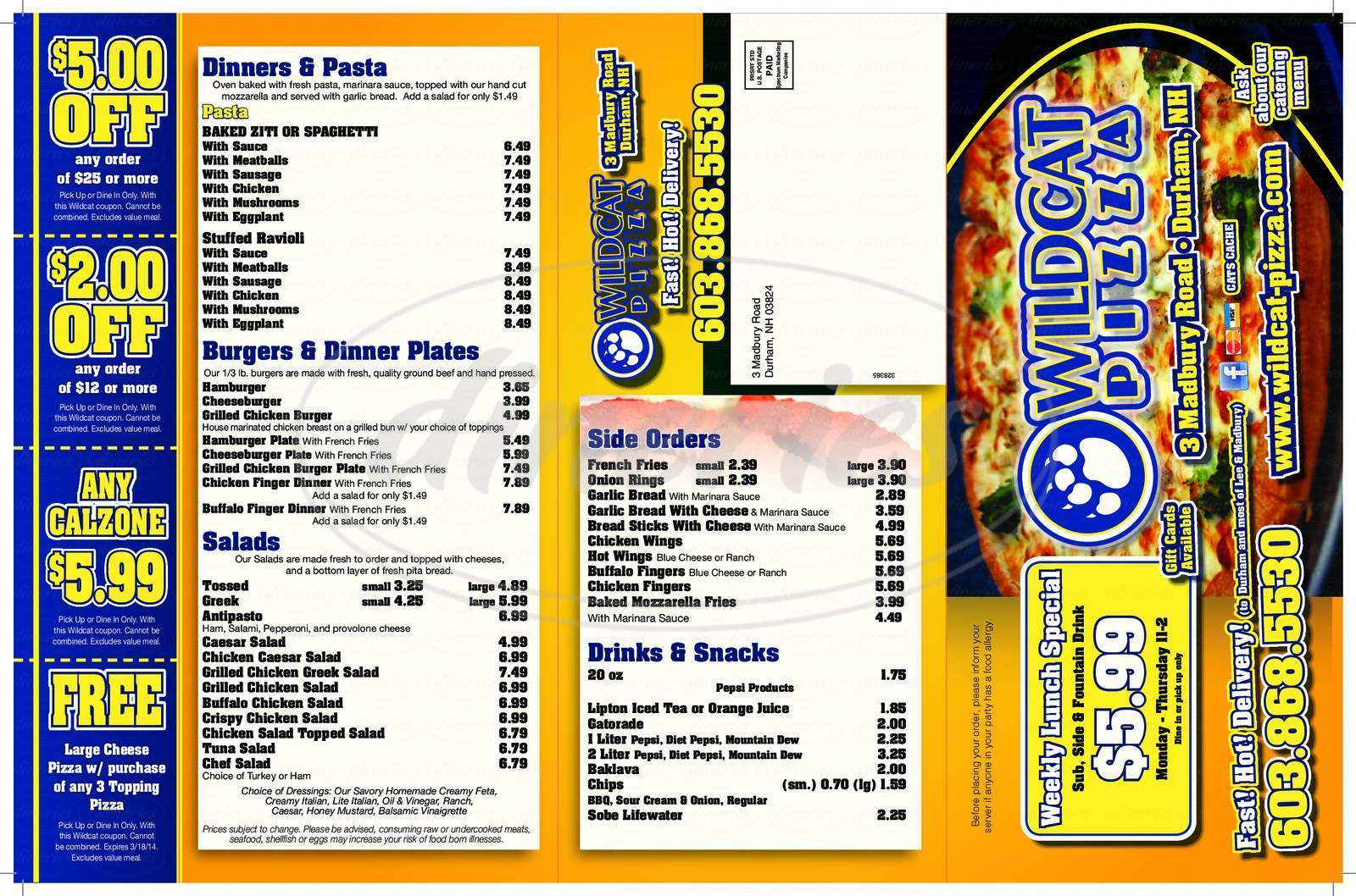 menu for Wildcat Pizza