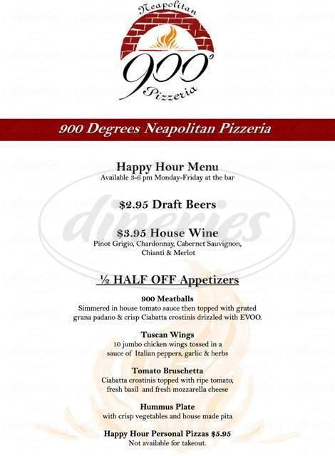 menu for 900 Degrees Neapolitan Pizzeria