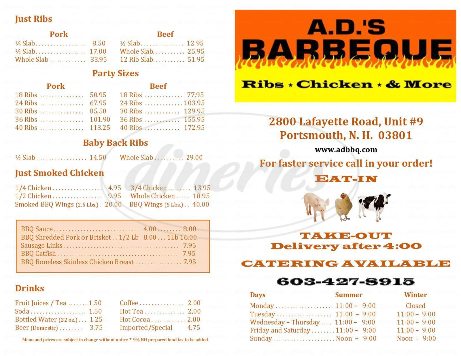 menu for A.D.'S Barbecue