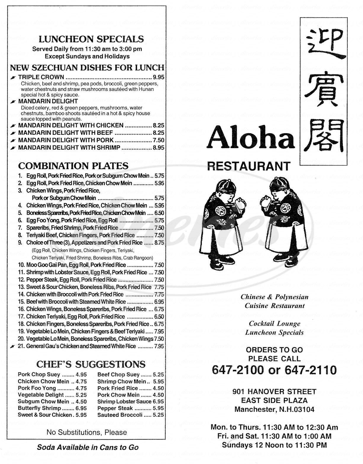 menu for Aloha Restaurant