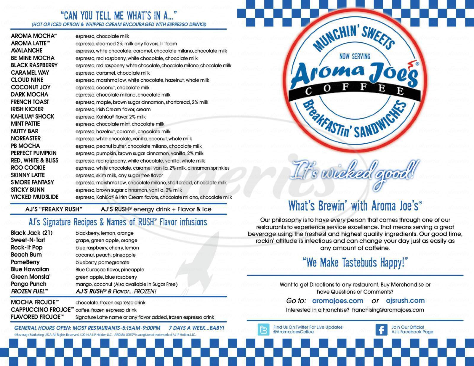 menu for Aroma Joe's