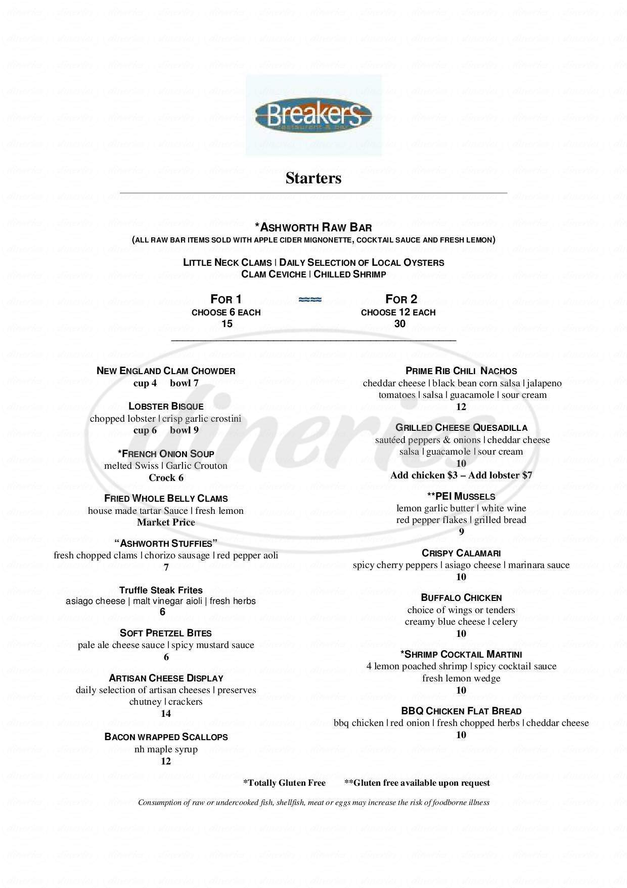 menu for Breakers Restaurant & Bar