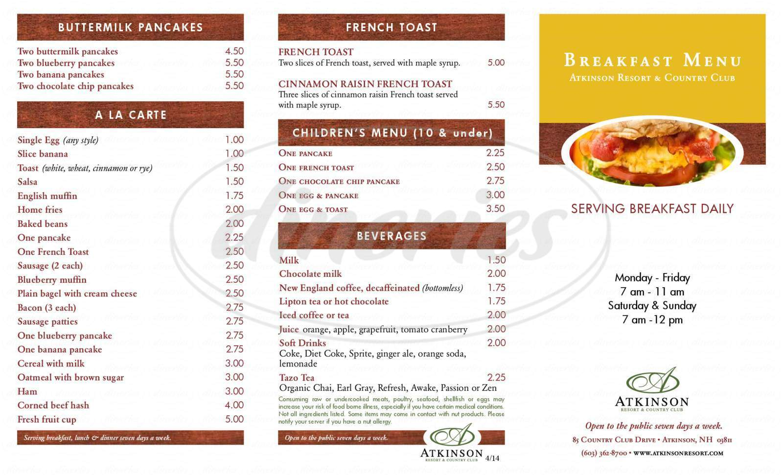 menu for Atkinson Resort & Country Club