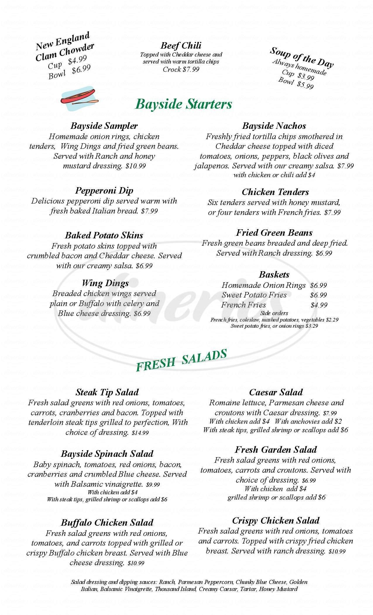 menu for Bayside Grill & Tavern