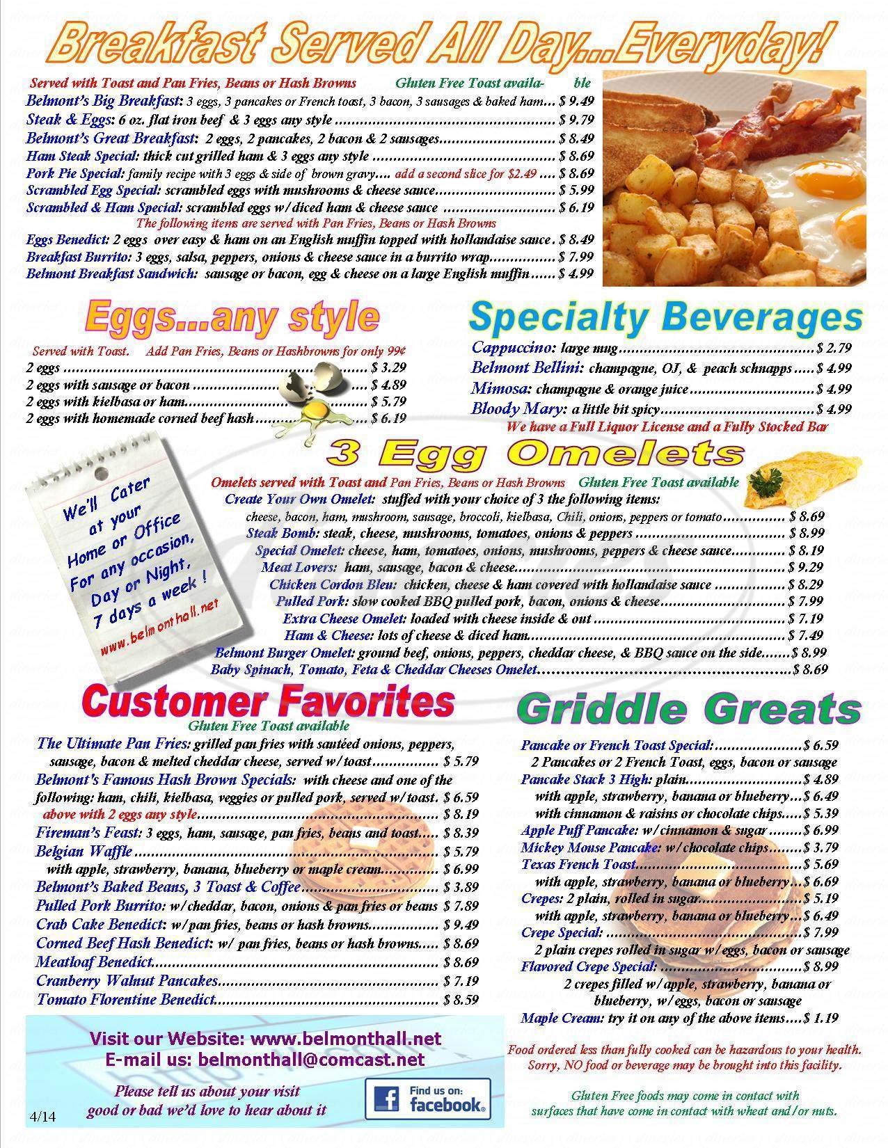 menu for Belmont Hall & Restaurant