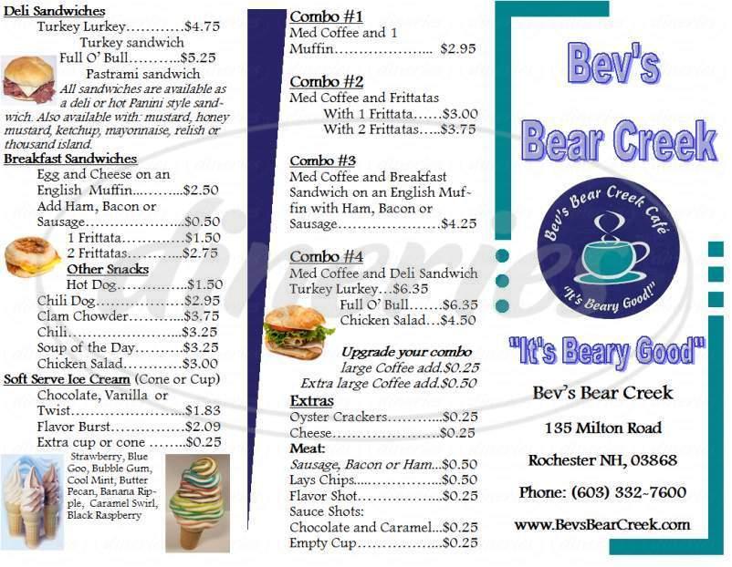menu for Bev's Bear Creek Cafe