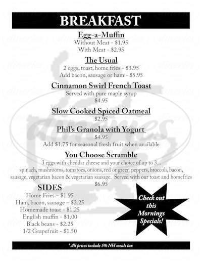 menu for Black Bean Cafe