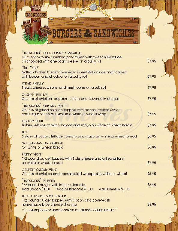 menu for Boondocks Tavern & Country Grill