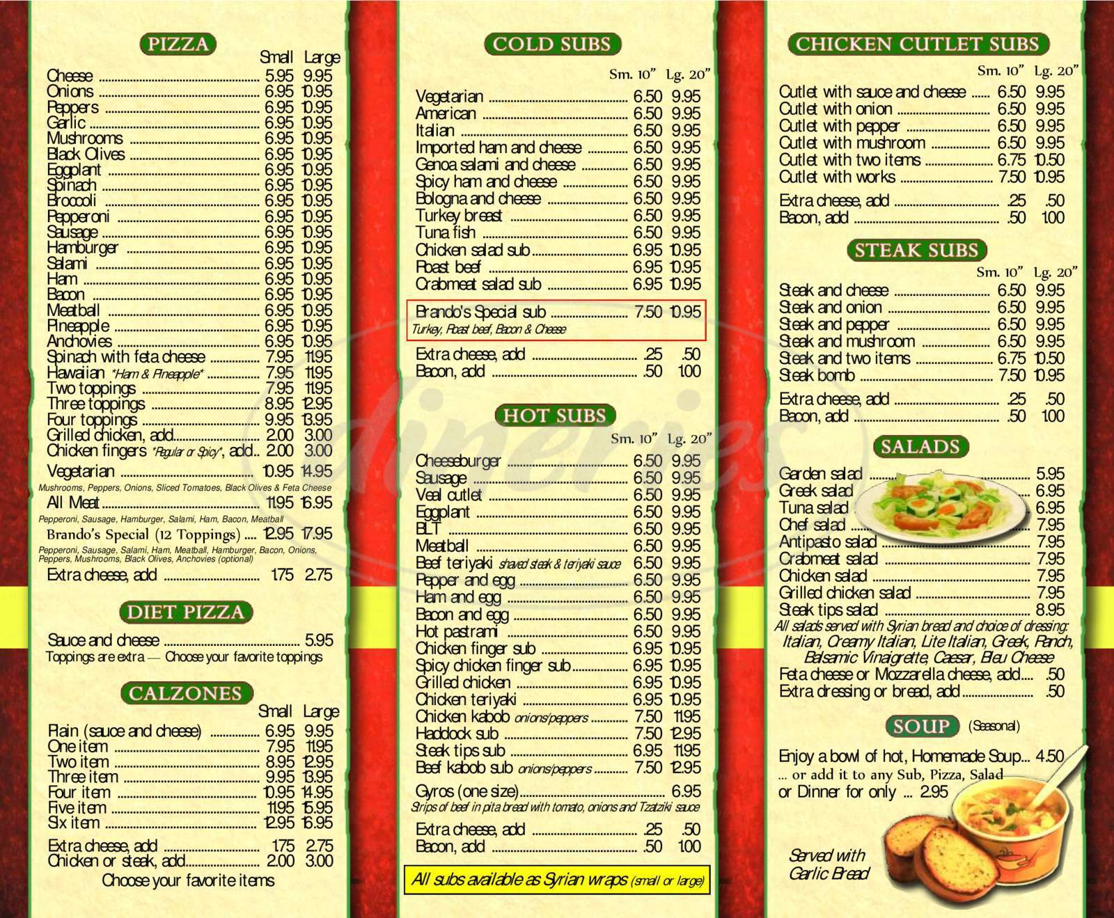 Big menu for Brando's Pizza, Pelham