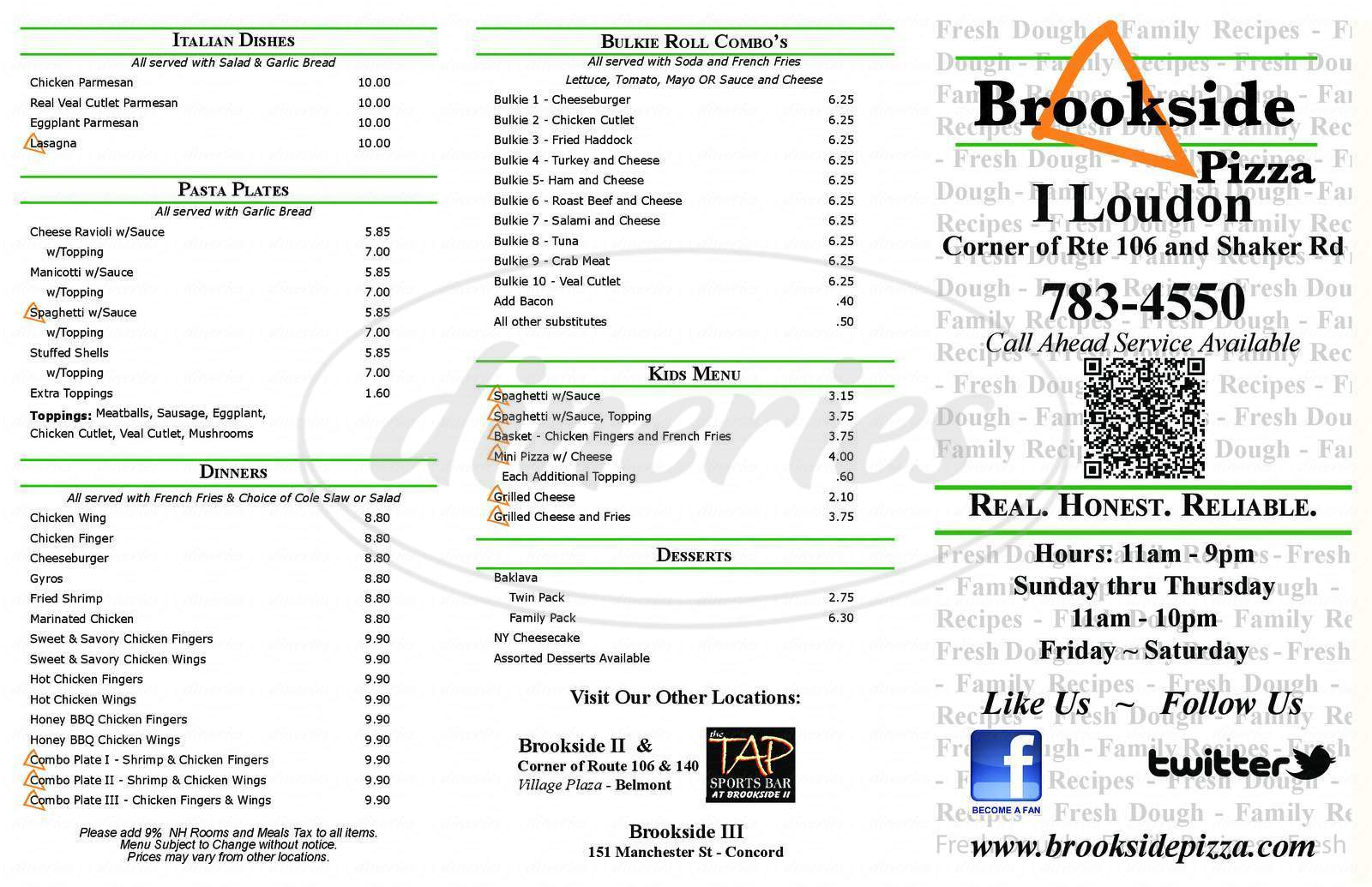 menu for Brookside House of Pizza