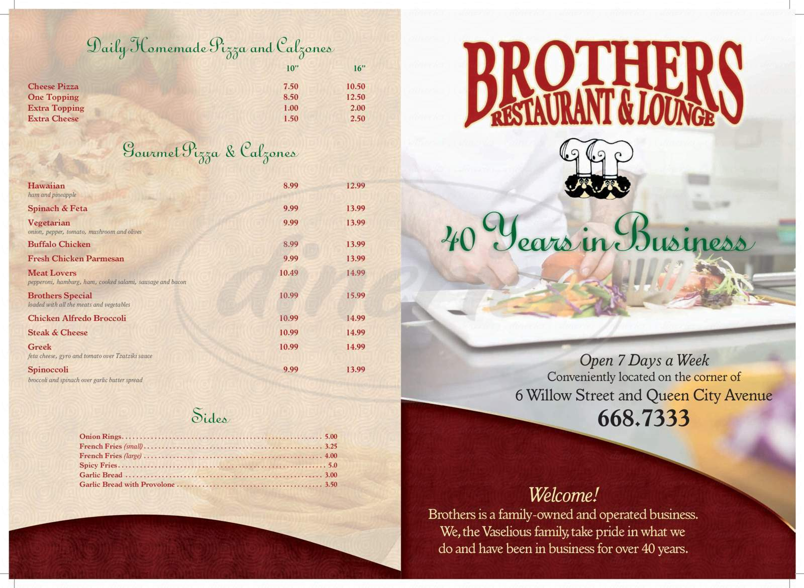 menu for Brothers Restaurant Pizza & Lounge