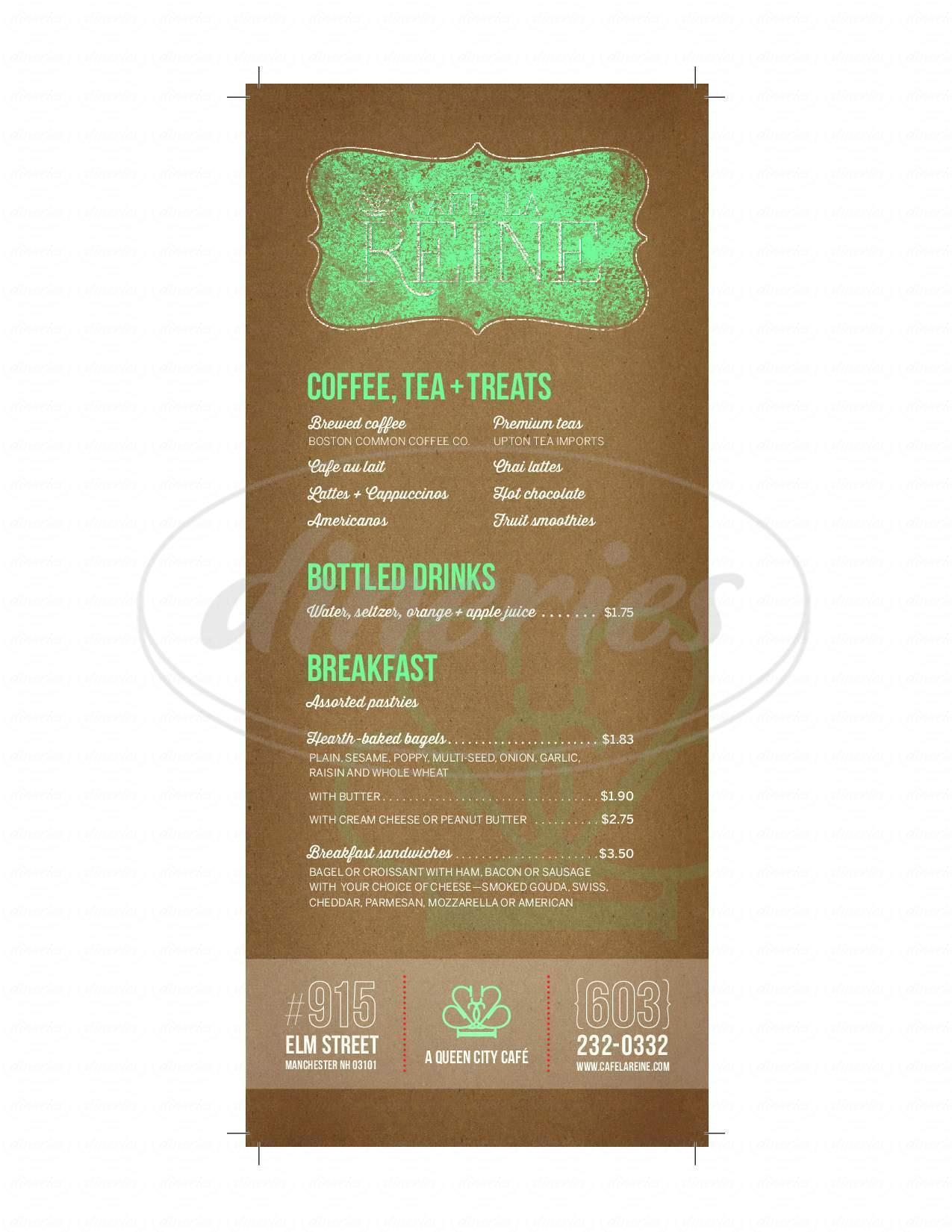 menu for Café la Reine