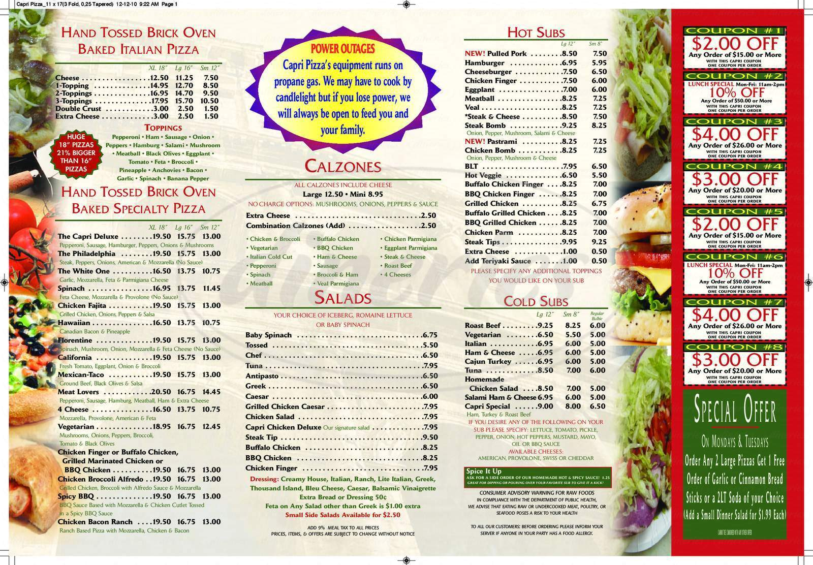 menu for Capri Pizza