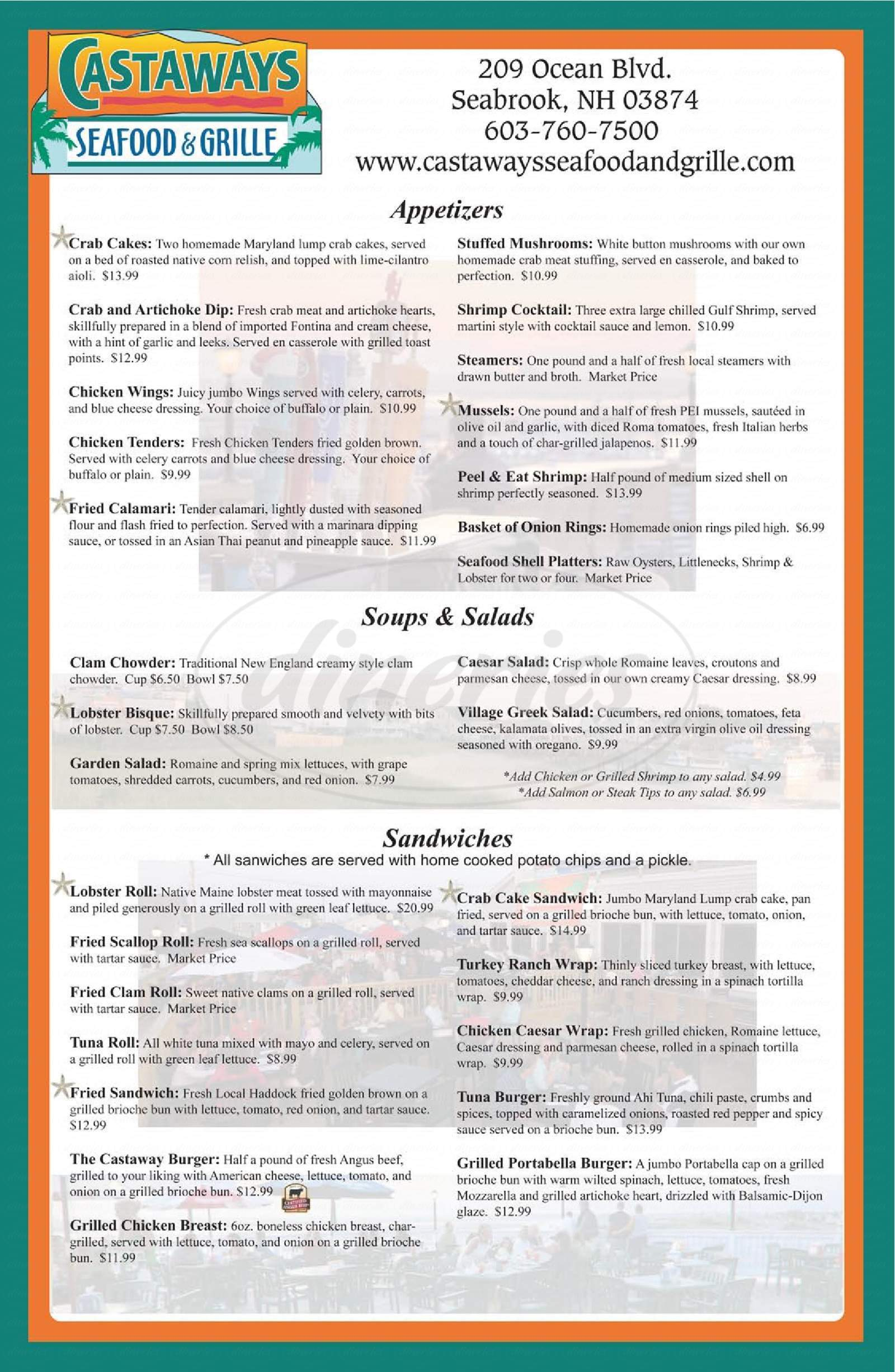 menu for Castaways Seafood and Grill
