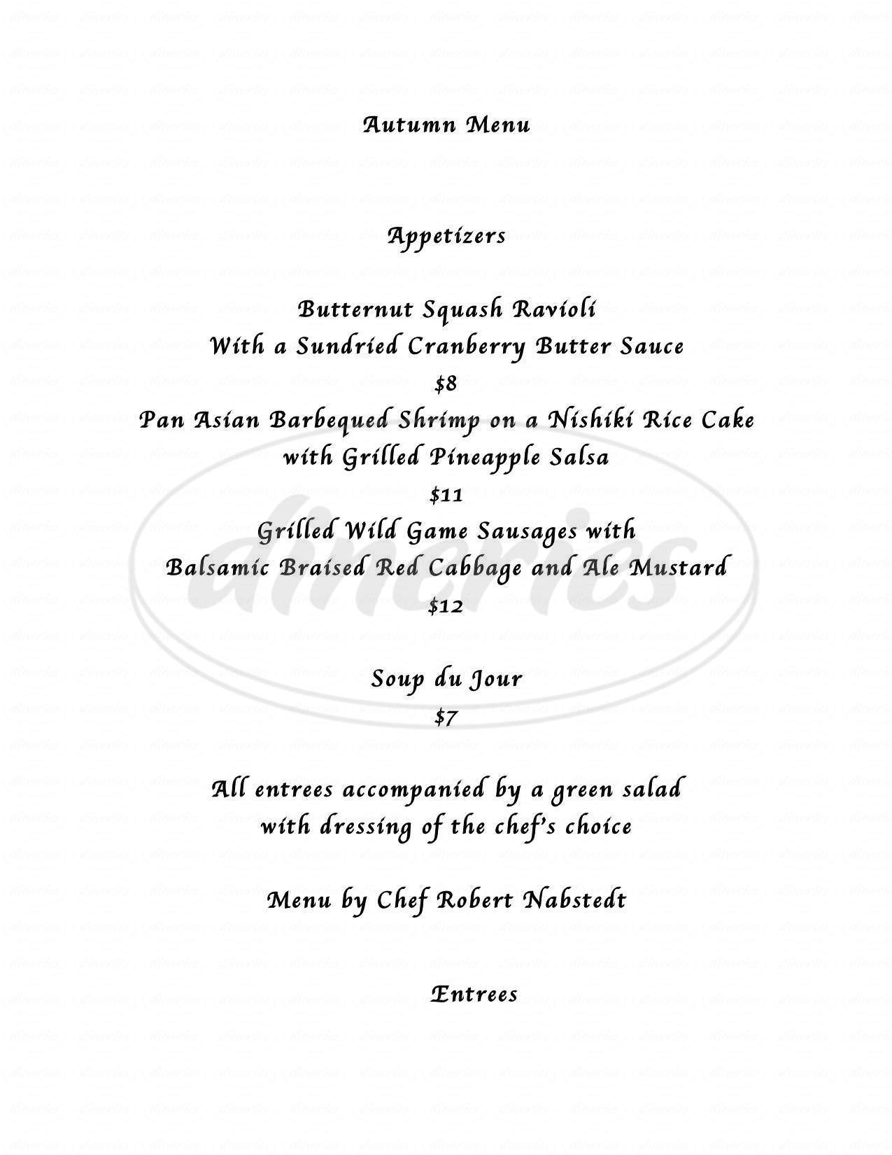 menu for Chesterfield Inn