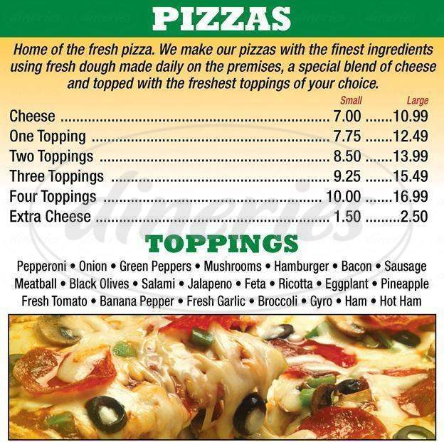 menu for Amherst Ciao's Pizza