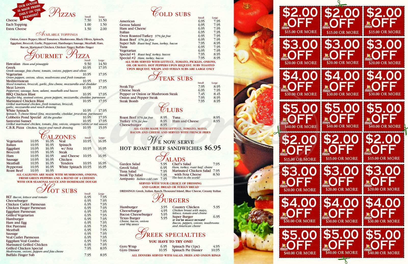 menu for Cobbetts Pond Pizzeria