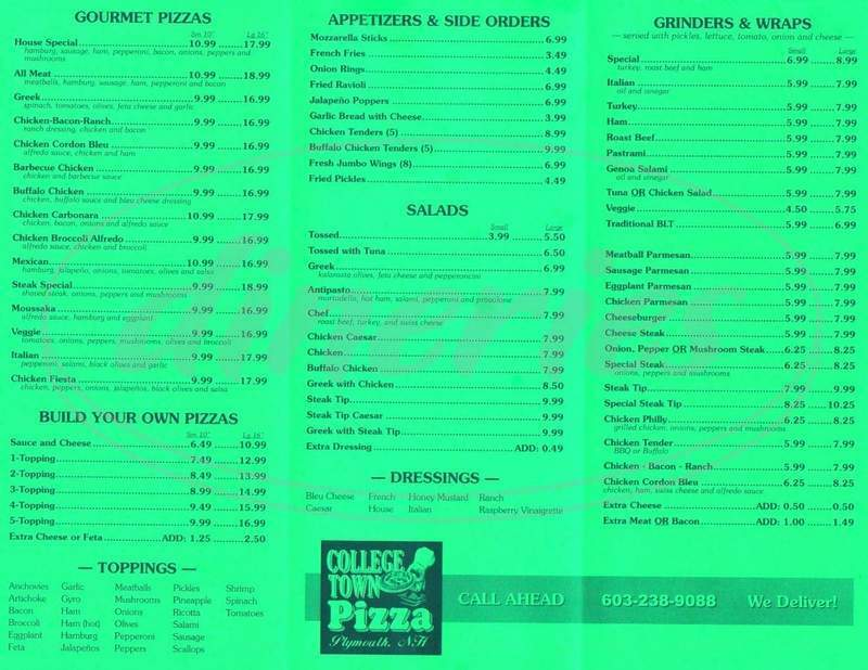 menu for College Town Pizza